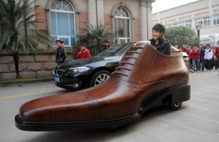 Shoe Company Steps Up Their Marketing with the Giant Leather Shoe Car