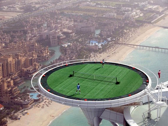 Look Down on the Little People While You Play Tennis in Dubai