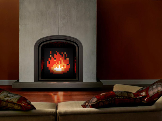 Pixelated Fireplace Art Brings Back Warm Memories
