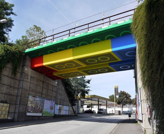 Giant LEGO Bridge Street Art