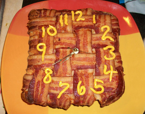 Clock Made Of Bacon & Cheez-Whiz