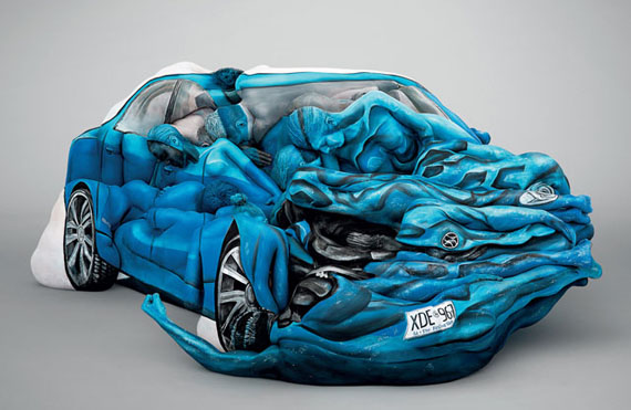 Models Body Painted Into A Car Crash