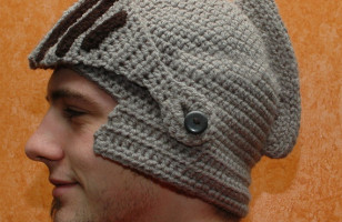 Crocheted Medieval Knight's Helmet