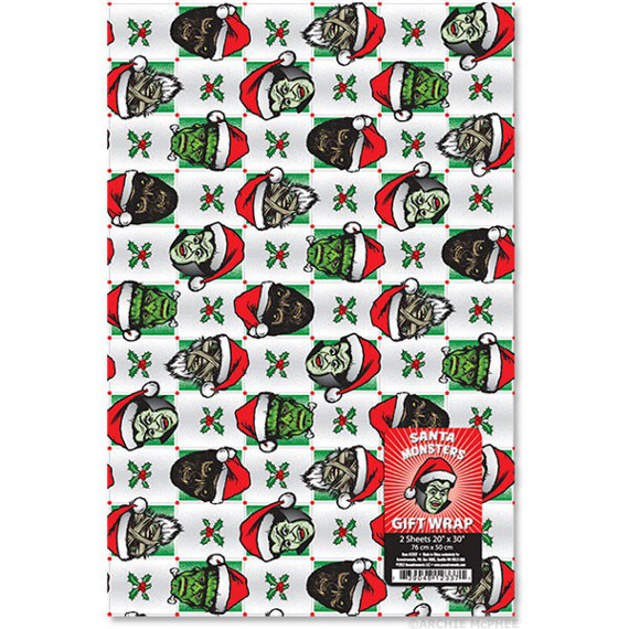 Santa x monster mash up wrapping paper incredible things for Paper mashing art
