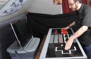 Giant Nintendo Controller Made of LEGO Bricks