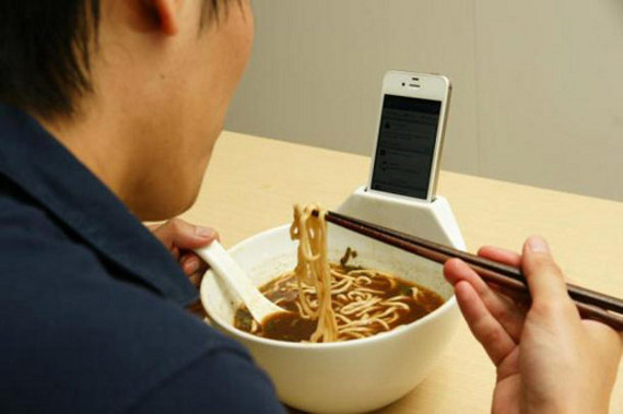Soup Bowl With Attached iPhone Holder