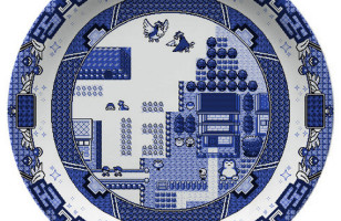 Video Game Themed Willow Pattern Plates