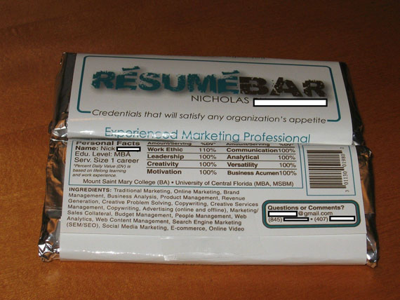 Man Scores Job With Candy Bar Résumé