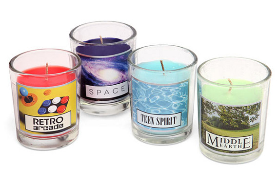 A Set Of Geeky Scented Candles