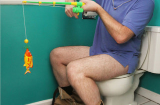 Hook, Line, & Stinker Bathroom Fishing Game
