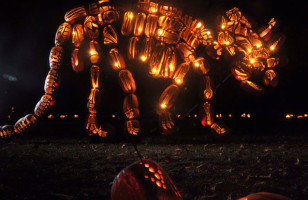 Carved Pumpkin Dinosaur Sculptures