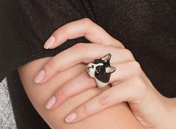Dog Wearing Jewelry Porcelain Dog Jewelry
