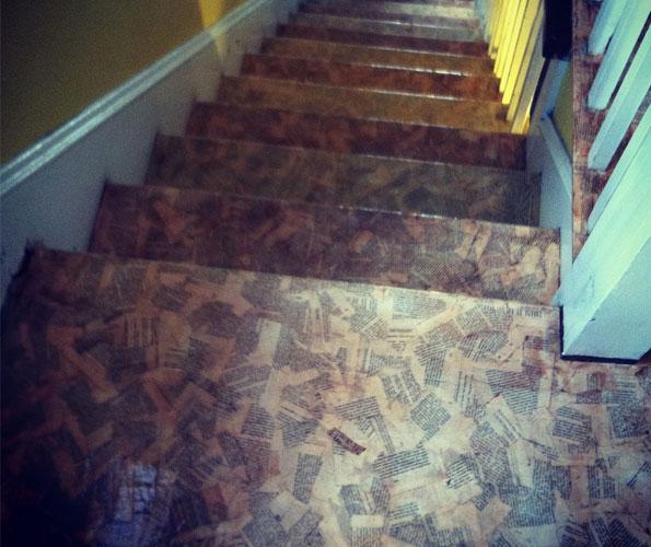 Diy Floor Covered In Paper 3