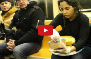 Woman Ices Cake & Serves Cake On Subway