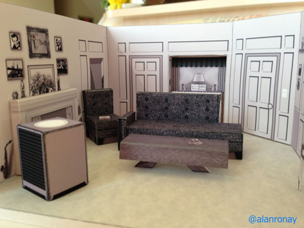 Awesome papercraft dioramas of popular tv show sets I love lucy living room set