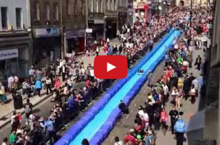 City Shuts Down Street For Giant Slip 'N Slide