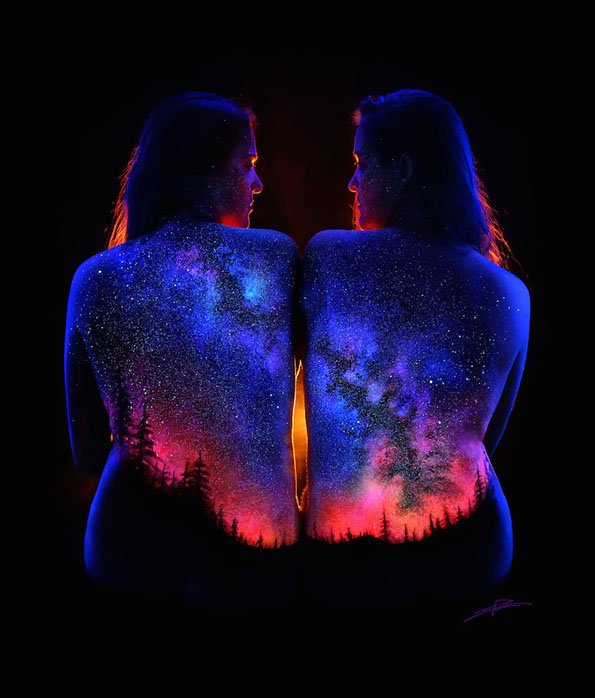 This Landscape Body Art Lit Up By Black Light Is Insanely Cool