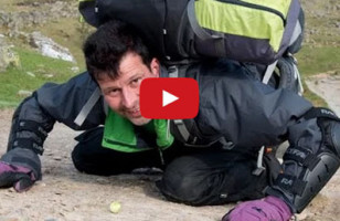 Man Pushing A Brussels Sprout Up A Hill With His Nose For Charity