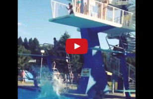 Woman Demonstrates How To NOT Do The High Dive