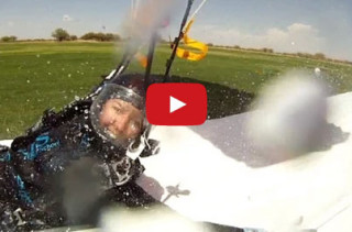 Thrill-Seeking Skydivers Up The Ante & Land On A Slip N Slide