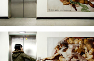 A Super Clever Creation Of Adam Mural Elevator Ad