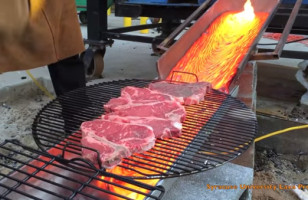 Watch How They Cook Steaks Using Lava In Upstate New York