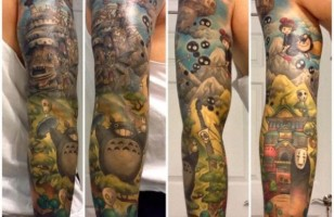 An Amazing Sleeve Tattoo Inspired By Hayao Miyazaki Films