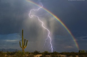 Whoa! A Super Rare Shot Of Super Rare Rainbow Lightning
