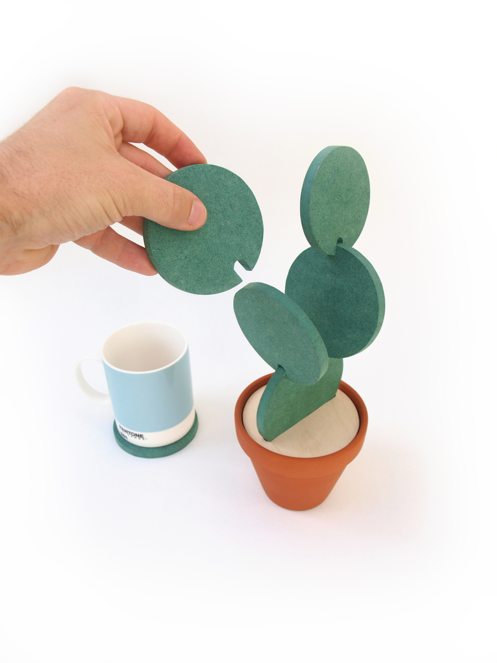 Cacti Coasters Stack To Create Cute Little Succulents