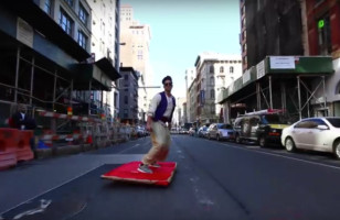 Aladdin Riding A Magic Carpet Through The Streets Of NYC