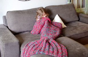 Check Out This Cute And Cozy Crocheted Mermaid Blanket