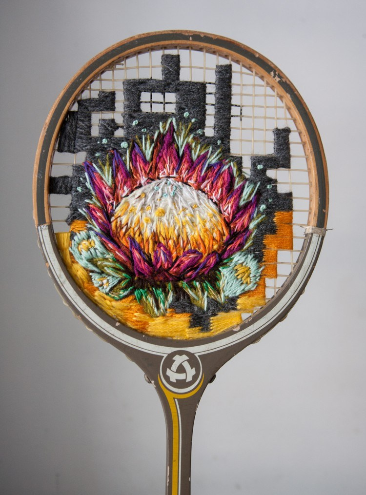 One Artist Embroiders Pretty Flowers Onto Tennis Racquets