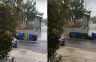 Here Are A Bunch Of Garbage Bins Rolling Down A Hill…