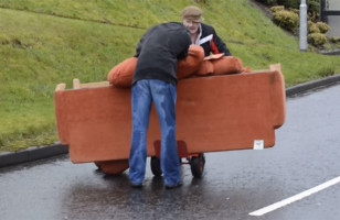 Two Drunk Irishmen Try To Move A Couch, Hilarity Ensues