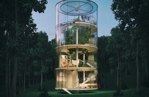 Amazing! A Cylindrical Glass House Built Around A Tree