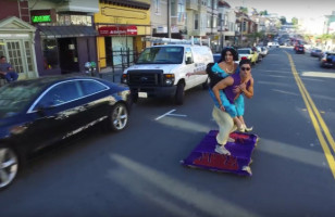 Aladdin And Jasmine Ride A Magic Carpet Through San Fran