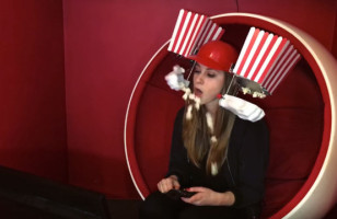 Eat Popcorn Hands-Free With The Popcorn Machine Helmet