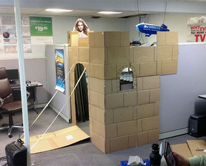 Office Cubicle Converted Into A Castle